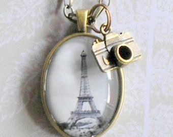 Anitqued brass pendant with altered photo of the Eiffel Tower
