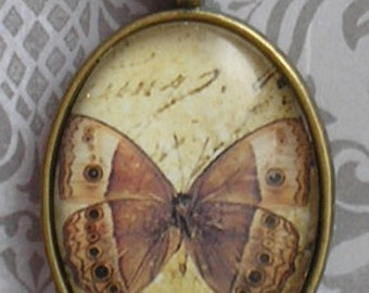 Butterfly Glass Pendant necklace with Antique Brass Chain Romantic and sweet necklace for her