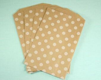 Brown Kraft White Polka Dot Middy Bags