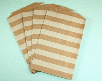 Brown Kraft Striped Middy Bags