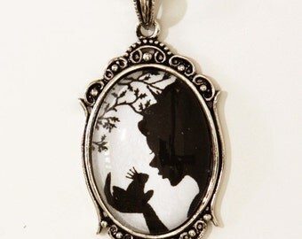 The Magical Kiss --Silhouette  Wearable Art Cameo Necklace-Valentine's Gift Christmas gift