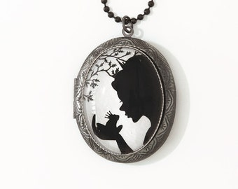 The Magical Kiss  --Silhouette  Wearable Art Locket --christmas gifts