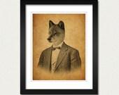 Wolf Art Print  - Wolf in a Suit Portrait - Wolf Art - 8x10 Art Print