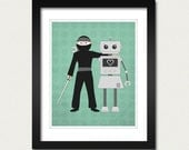 Ninjas and Robots are Friends 8x10 Print