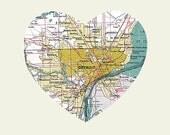 Detroit City Heart Map - 8x10 Art Print