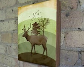 Elk on the Horizon - Wood Block Art Print