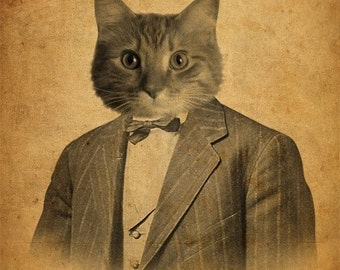 Cat in a Suit Portrait 8x10 Art Print