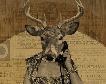 Deer Art - Deer Print - Susan Gets a Call - 8x10 Art Print - Phone Art