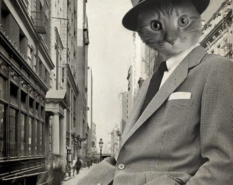 Cat in Suit - Animal in Suit Art Print - 8x10 Art Print