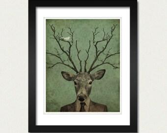 Deer Art Print - Antler Art - Leroy's Antlers 8x10 Art Print