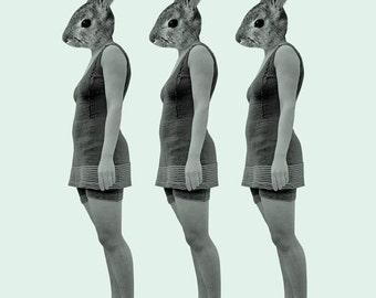 Rabbit Girl  8x10 Art Print - Vintage Green Bunny
