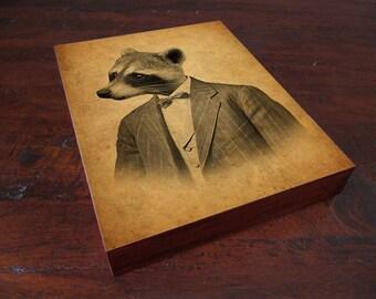 Woodland Nursery - Raccoon in a Suit Portrait - Wood Block Print