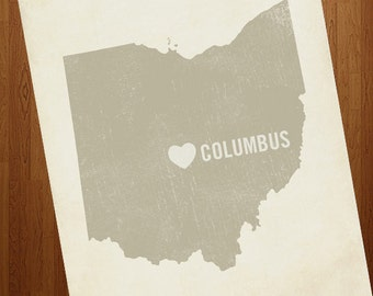 I Love Columbus Ohio 8x10 Art Print - Ohio State City Heart