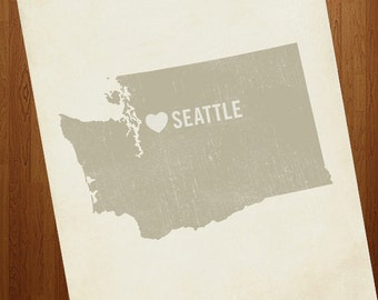 I Love Seattle 8x10 Art Print - Washington City State Heart