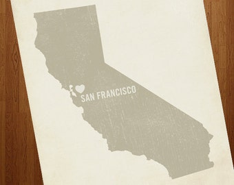 I Love San Francisco 8x10 Art Print - California City State Heart