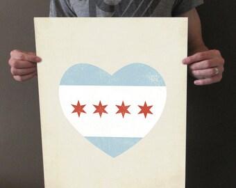 Chicago Flag Heart - 16 x 20 Art Print