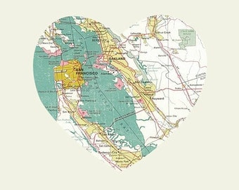 San Francisco California Art City Heart Map -  Art Print