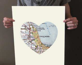 Chicago Art City Heart Map - 16x20 Art Print