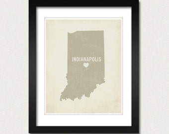 I Love Indianapolis 8x10 Art Print - Indiana City State Heart