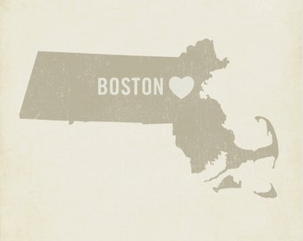 I Love Boston 8x10 Art Print -  City Heart
