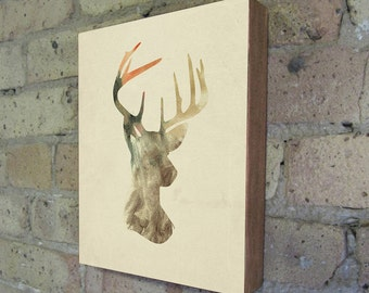Deer Art - Antler Art - Deer Silhouette Wood Block Art Print