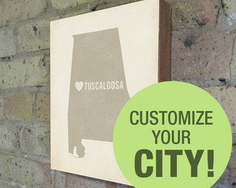 Customized City State Heart - Wood Block Art Print
