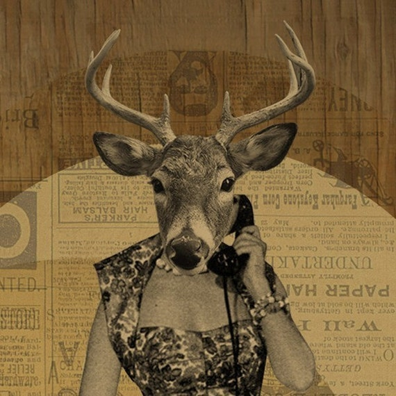 Deer Art - Deer Print - Susan Gets a Call - 8x10 Art Print - Phone Art