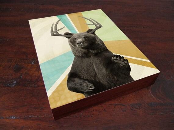 Bear Print - Bear Art -  Wood Block Print
