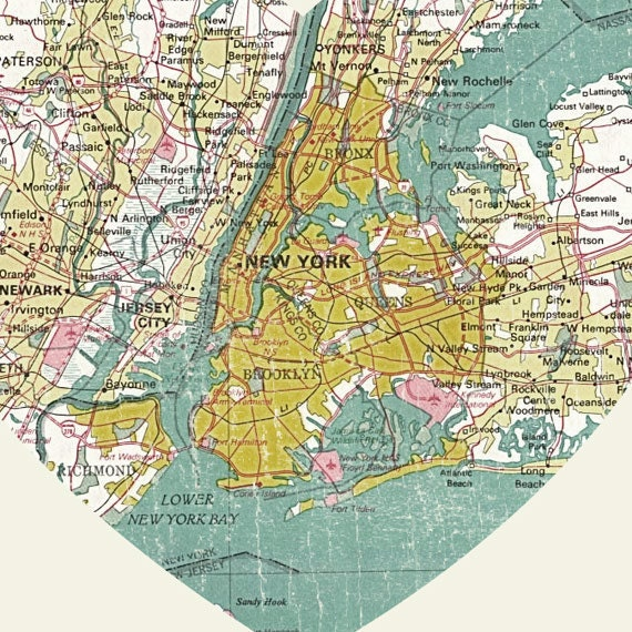 New York Art City Heart Map X Art Print - Nyc map