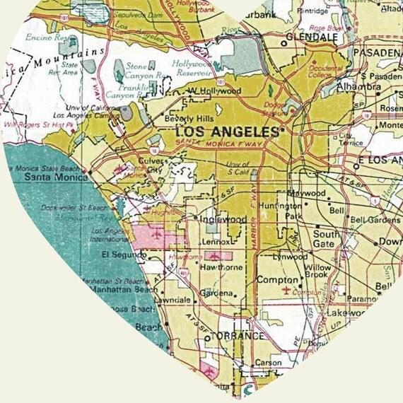 los angeles art city heart map 8x10 art print