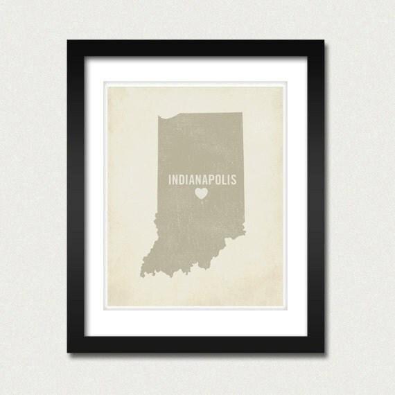 I Love Indianapolis 8x10 Art Print - Indiana City State Heart