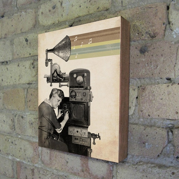 Music Art - Music Print - The Music Maker - Wood Block Art Print