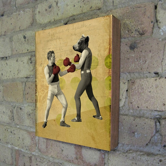 Bear Art - Boxing Art - Bear Fight - Chuck Battles the Bear - Wood Block Art Print