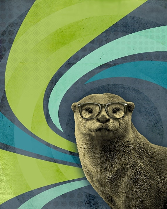 Otter Art - Sea Otter - Otter in Glasses - The Inquisitive River Otter - 8x10 Print