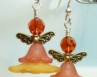Hot Paprika Flower Angel Earrings