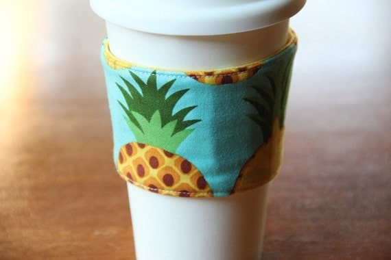 Reversible Coffee Cup Sleeve - Pineapple - Ready to Ship