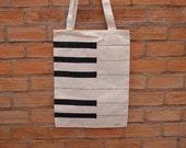 Hand painted canvas tote bag - Piano Keys
