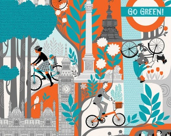 """London Cycling Poster. Limited edition digital print 12"""" x 16"""""""