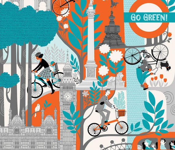 "London Cycling Poster. Limited edition digital print 12"" x 16"""