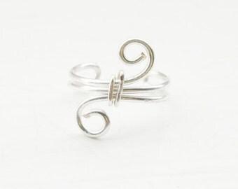 Ear Cuff Silver Ear Wrap Swirl Small Ear Cuff Wire Wrapped