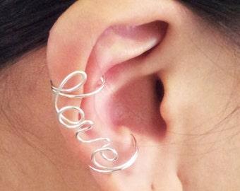 Ear Cuff Silver Love Double Cuff Earcuff Ear Wrap Cartilage