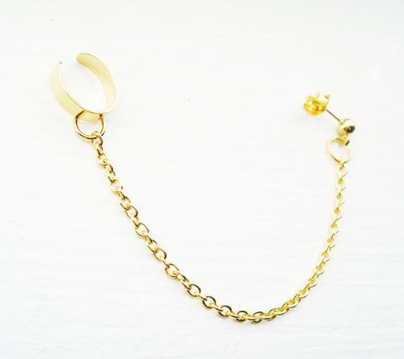 Ear Cuff with Chains Gold Earcuff Ear wrap Stud Cartilage