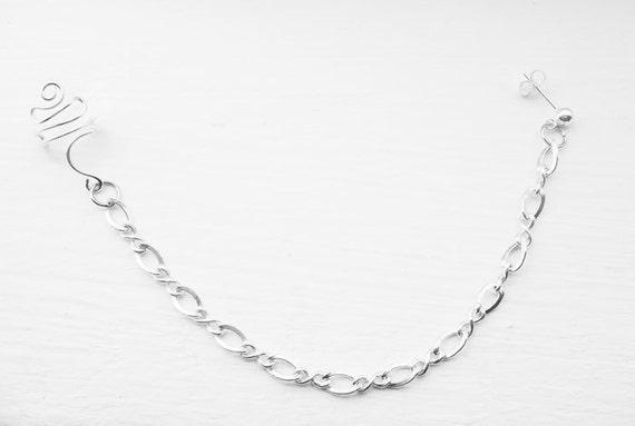 Ear Cuff with Chains Silver Ear Wrap Stud Cartilage
