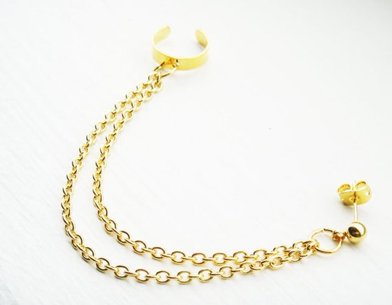 Ear Cuff with Chains Gold Ear Wrap Stud Cartilage