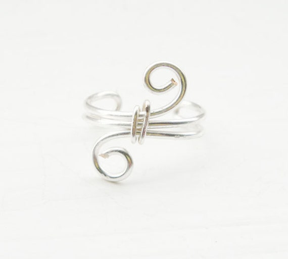 Ear Cuff Silver Ear Wrap Swirl Small Ear Cuff Wire Wrapped