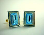 Handmade Cufflinks Blue Rectangle Swarovski Crystal on Gold Setting - Great for Groomsmen Gift, Wedding or Birthday by Estylo Cufflinks