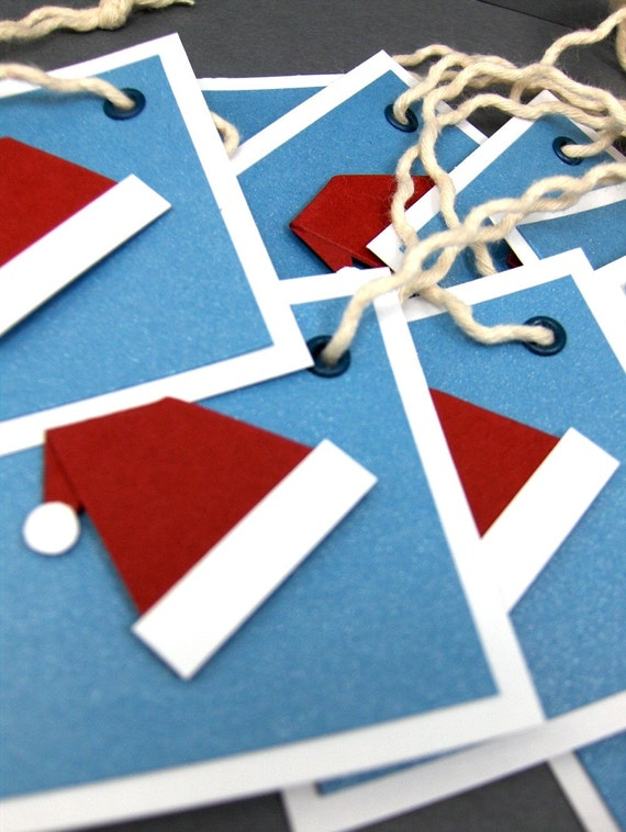 Santa Hat Gift Tags Set of 10