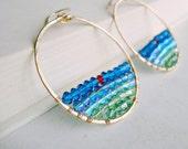 Blue Green Hoop Earrings, Swarovski Crystals, Gold Filled Hammered Hoops, Crystal Sunset
