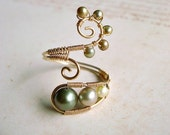 Green Pearl Wire Ring, Gold Filled Wire Wrapped Ring With Green Freshwater Pearls, Adjustable Wire Weave Ring