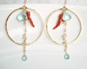 Coral Pearl Gold Hoop Earrings With Apatite and Light Blue Acrylic Beads, Gold Filled Hoops